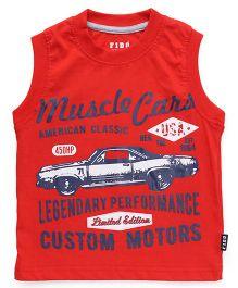 Fido Sleeveless T-Shirt Muscle Cars Print - Red