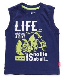 Fido Sleeveless T-Shirt Bike Print - Blue