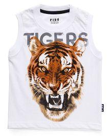 Fido Sleeveless T-Shirt Tiger Print - White Brown
