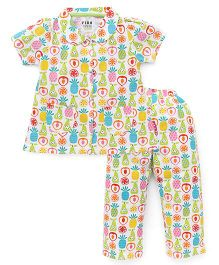 Fido Half Sleeves Night Suit Fruits Print - Multi Color