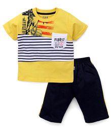 Fido Half Sleeves T-Shirt & Shorts Set Stripes print - Yellow Navy