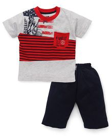 Fido Half Sleeves T-Shirt & Shorts Set Stripes print - Red Navy