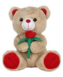 Ultra Teddy Brown With Red Flower - 33 cm