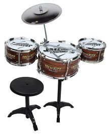 Saffire Kids Jazz Drum With Stand And Seat - Brown