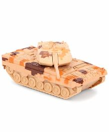 ToyFactory Baby Metal Army Tank Toy - Brown