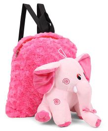 Tickles Elephant Soft Toy Bag Pink - 13 inch