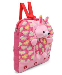 Tickles Beautiful Rabbit School Soft Toy Bag Pink - 13 inch