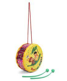 Mansaji Rock Drum Toy - Yellow & Dark Pink