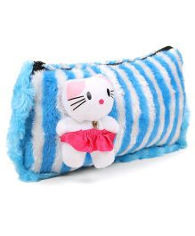 Tickles Cute Kitten Soft Toy Plush Pencil Pouch - Blue