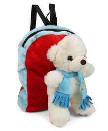 Tickles Brilliant Muffler Teddy Soft Toy Bag - White Blue
