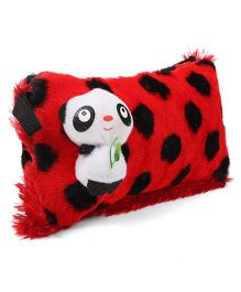 Tickles Pouch With Cute Panda Motif - Red Black