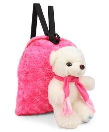 Tickles Smart Muffler Teddy Soft Toy Bag Pink Cream - 13 inch