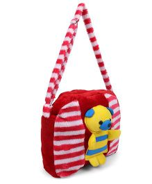 Tickles Teddy Sling Bag Red White -10 inch