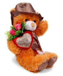 Tickle Adorable Teddy Soft Toy With Lovely Heart And Rose Brown 34 cm
