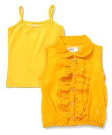 Soul Fairy Trendy Girls Ruffle Peter Pan Collar Top - Yellow