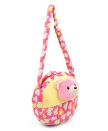 Tickles Cute Teddy Sling Bag Pink Yellow - 9 inch