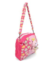 Tickles Cute Rabbit Sling School Bags Pink - 10 inch