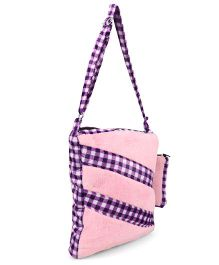 Tickles Rectangular Stripe Design Sling Bag With Teddy Applique Pink Purple - 11 inch