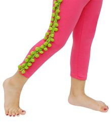 D'chica Pom Pom Lace On Sides Leggings - Fuchsia & Green