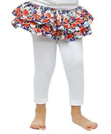 D'chica Floral Print Skirt Frilled Leggings - White & Multicolour