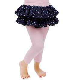 D'chica Polka Skirt Frilled Leggings - Navy Blue & Pink