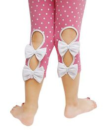 D'chica Polka Buttonhole With Tiny Bow Applique Leggings - Baby Pink & White