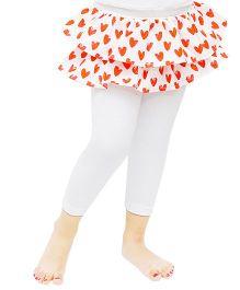 D'chica Little Heart Print Friled Skirt Leggings - White & Red