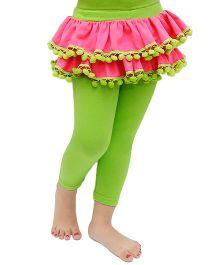 D'chica Pom Pom Lace Frilled Skirt Leggings - Pink & Green