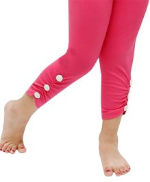 D'chica Side Button Ankle Length Leggings - Fuchsia