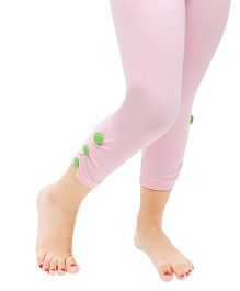 D'chica Side Button Ankle Length Leggings - Light Pink
