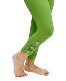 D'chica Side Button Ankle Length Leggings - Green
