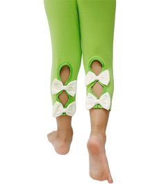 D'chica Ankle Length Leggings Bow Appliques - Green