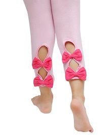 D'chica Ankle Length Leggings Bow Appliques - Light Pink