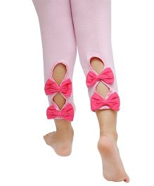 D'chica Ankle Length Leggings Bow Appliques - Light Pink