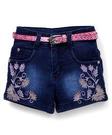 Pink Kat Flower Design Denim Shorts For Girls - Dark Blue