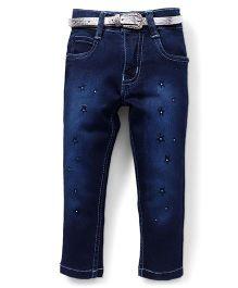 Pink Kat Star Design Denim Pant For Girls - Dark Blue