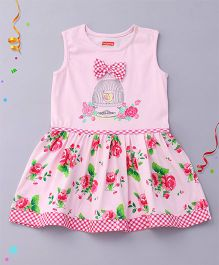 Babyhug Sleeveless Frock Floral And Cage Print - Pink