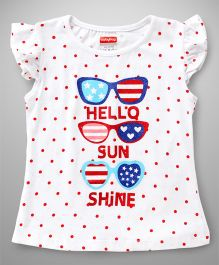 Babyhug Flutter Sleeves Tee Dotted And Sunglasses Print - White