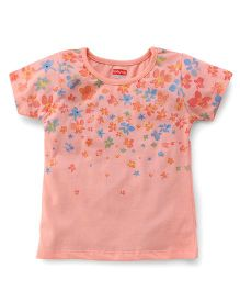 Babyhug Short Sleeves Top Floral Print - Peach