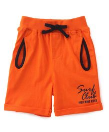 Babyhug Surf Club Printed Shorts With Drawstring - Orange
