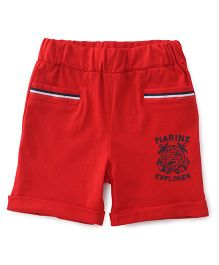 Babyhug Shorts Printed With Elasticated Waist - Red