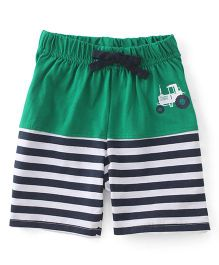 Babyhug Shorts With Drawstring And Vehicle Print - Green