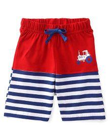 Babyhug Shorts With Drawstring And Vehicle Print - Red
