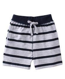 Babyhug Shorts With Drawstring And Stripe Design - Grey
