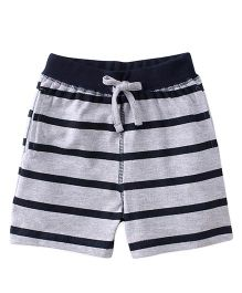 Babyhug Shorts With Drawstring And Stripe Design - Grey