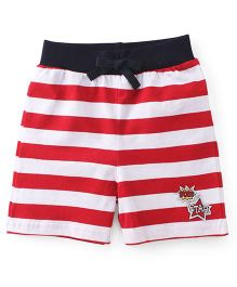 Babyhug Shorts With Drawstring And Stripe Design - Red