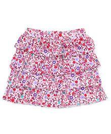 Babyhug Layered Skirt Floral Print - Red Purple White