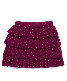 Babyhug Layered Skirt Polka Dot Print - Purple