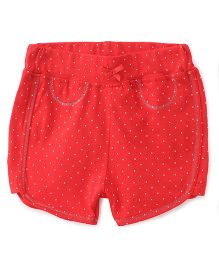 Babyhug Allover Dotted Shorts - Red