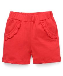 Babyhug Solid Color Shorts With Designer Pocket - Coral